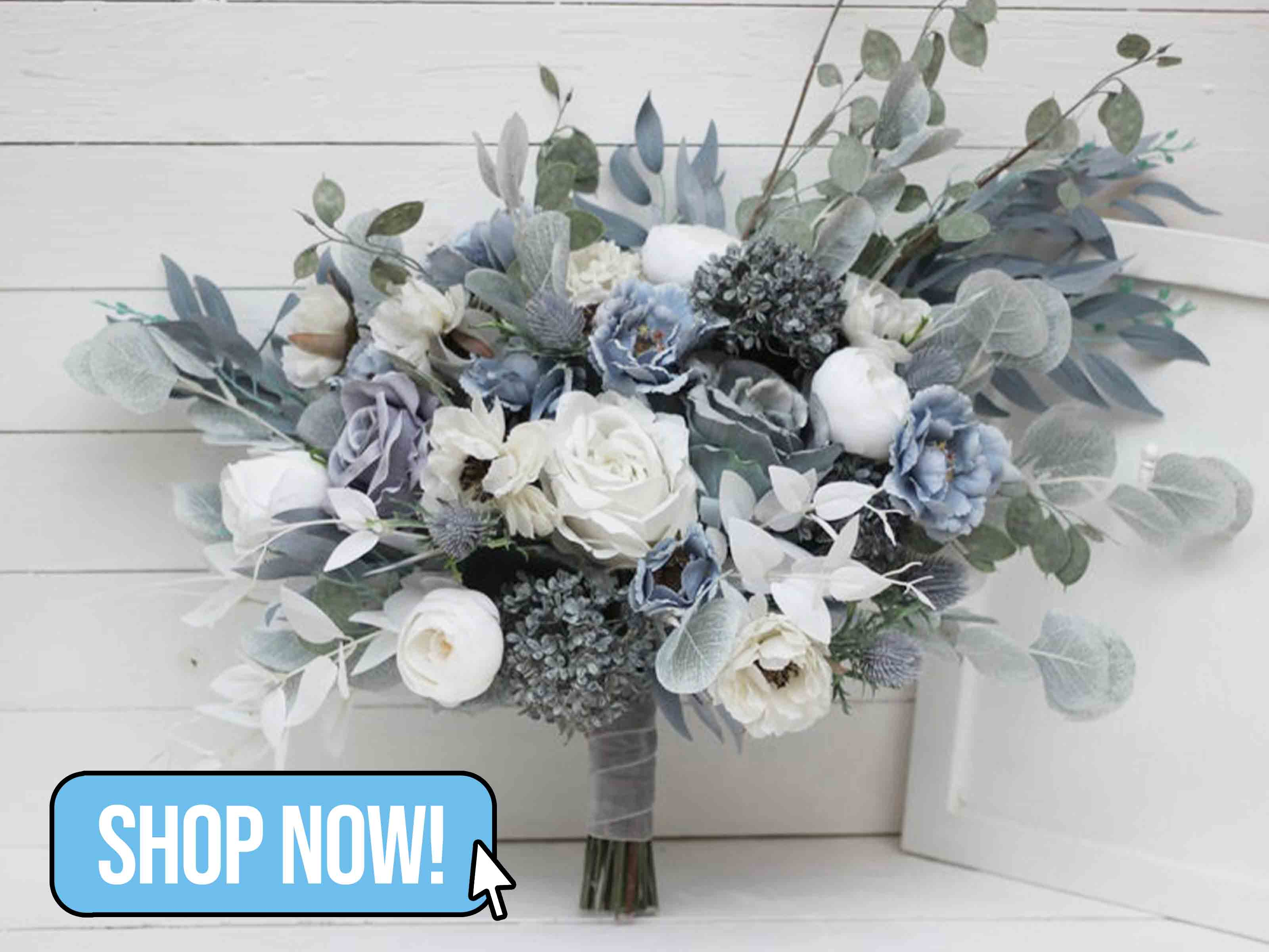 Dusty Blue Bridal Bouquet - Kochetova