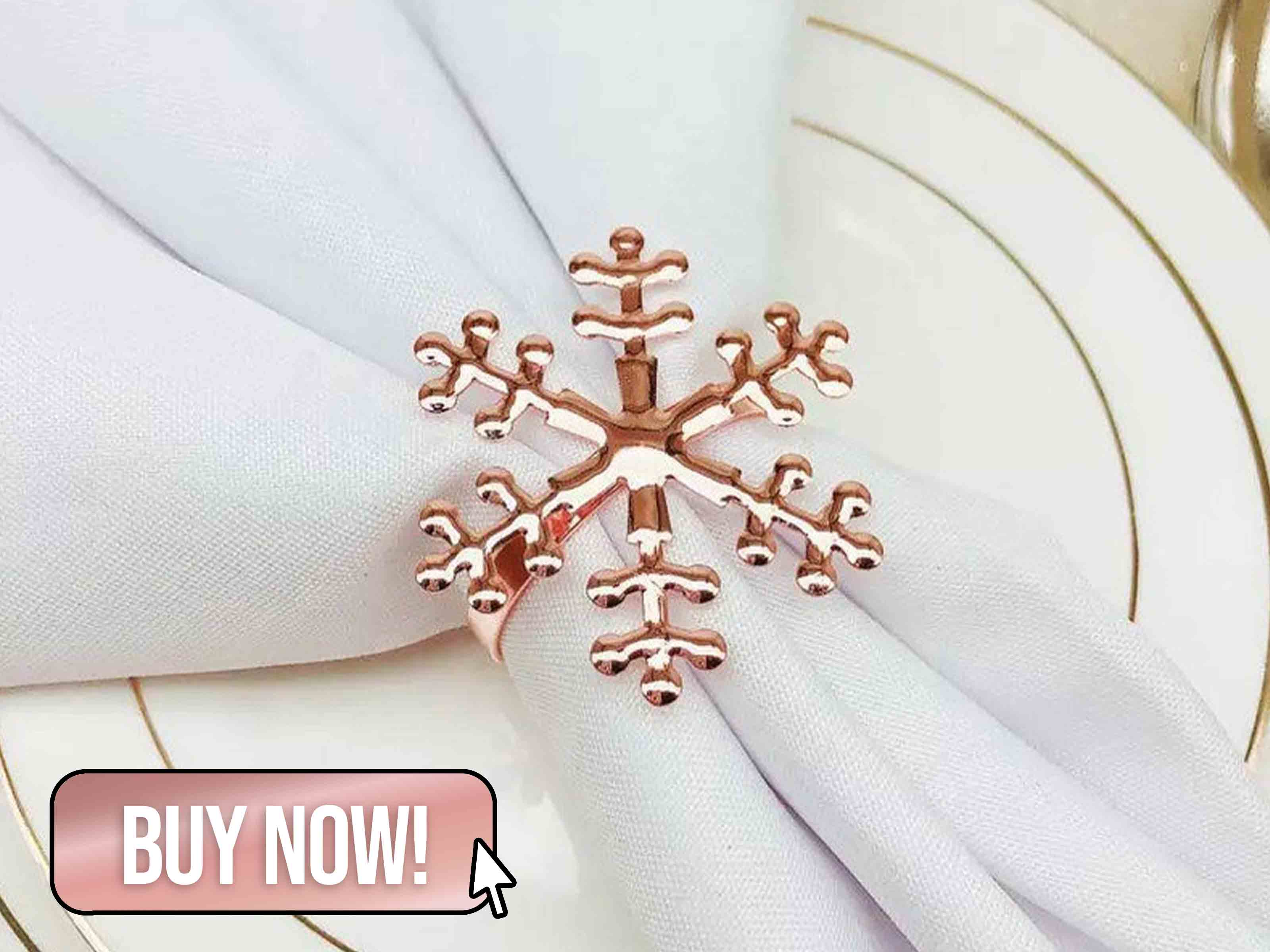 Luxury Rose Gold Snowflake Napkin Rings - Weddingdecortrade