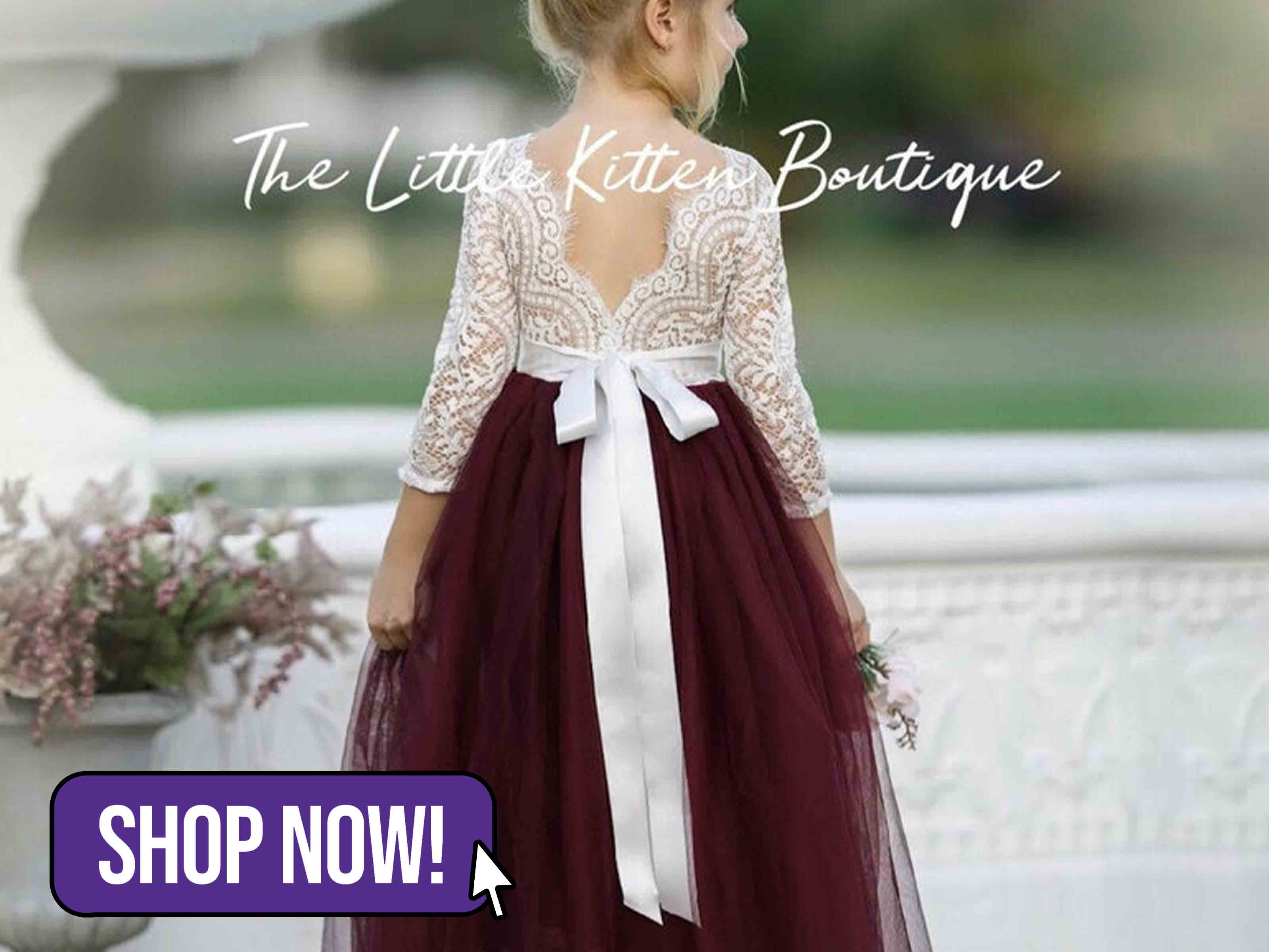 Rustic Lace Flower Girl Dress - Thelittlekitten23