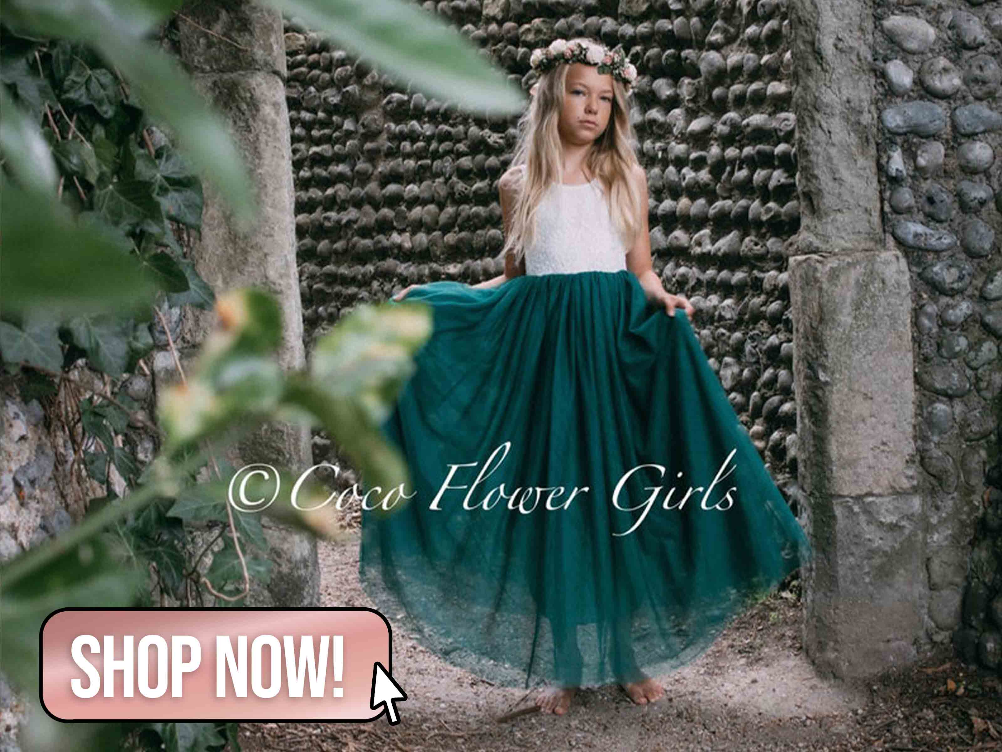 Bohemian Green Classic Flower Girl Dress - CocoFlowerGirls